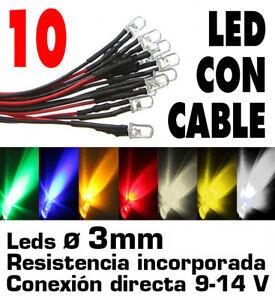 10-x-Leds-3-mm-precableados-para-9-14-Volts-7-colores-Y-portaleds