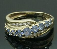 9 carati oro giallo Tanzanite e Diamante FANCY eternity anello (Dimensione J 1/2)