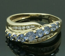 9ct Yellow Gold Tanzanite & Diamond Fancy Eternity Ring (Size J 1/2)