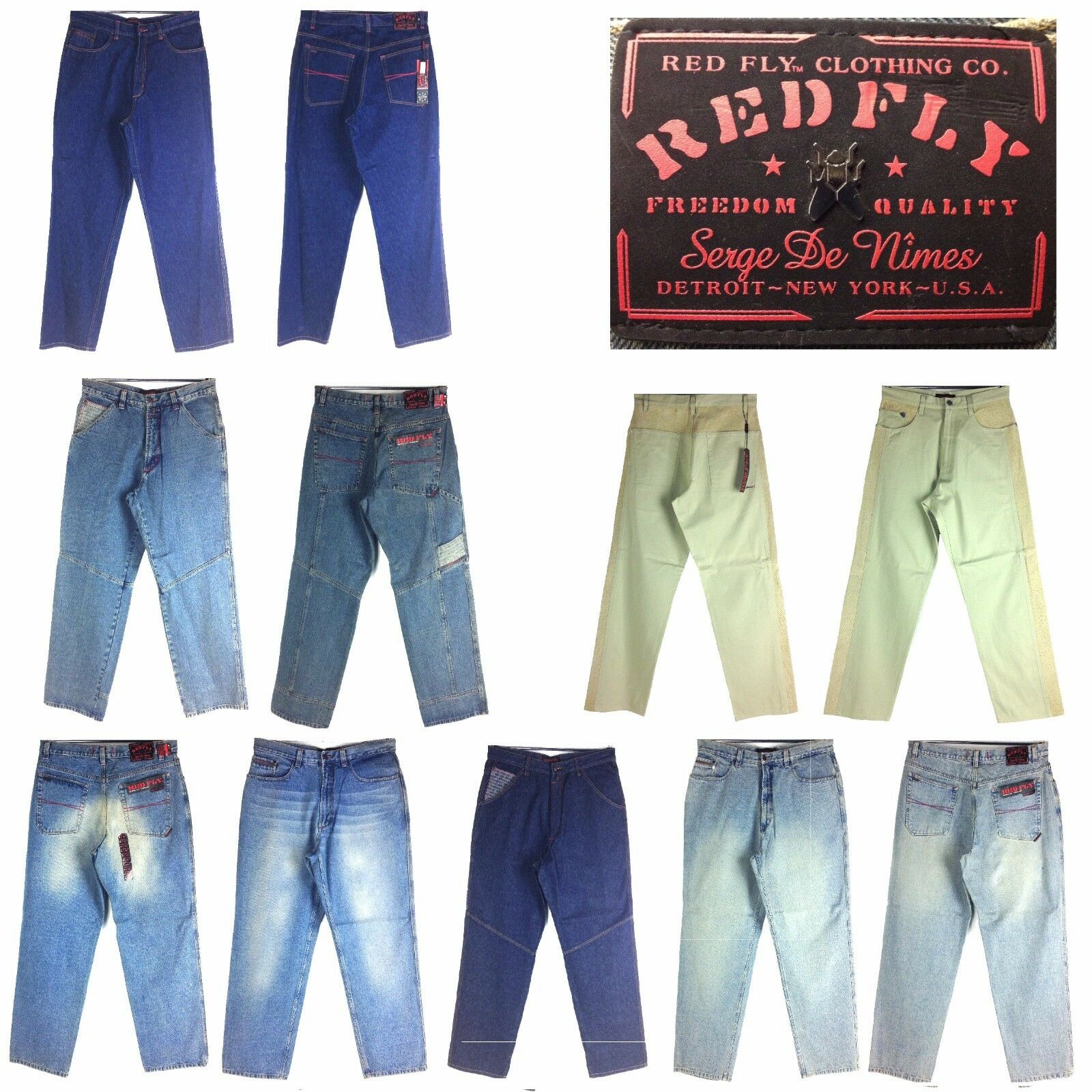 RED FLY ASSORTED STYLE, OLD SCHOOL BAGGY, MEN'S LONG DENIM JEANS,