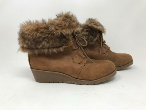 Youth Stevies 093099579 Faux Suede Fur Wedge Bootie Tan U20 Girls New