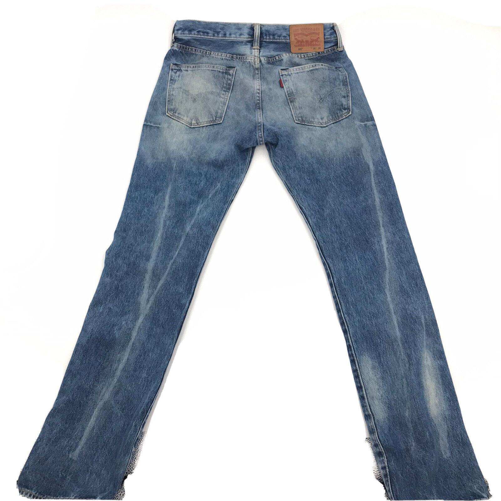 Levis 501 Mens Blue Denim Distressed Jeans Sz 32W - image 7