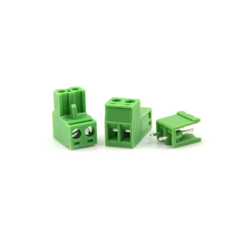 20pcs AC 300V 10A 5.08mm Pitch 2 Pin Screw Pluggable Terminal Block Green LE