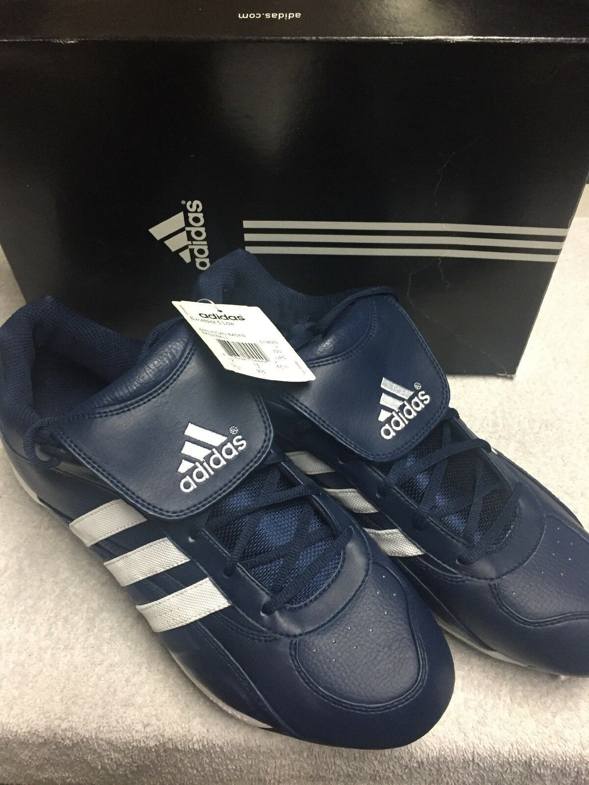 06ad827f8c4 Adidas Men s bluee White Striped Excelsior 5 Low Top Athletic Cleats Size  12.5 M