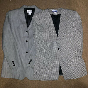 Lot of 2 Vintage Women's Pendleton Button Gray 100% Virgin Wool Blazers Size 10