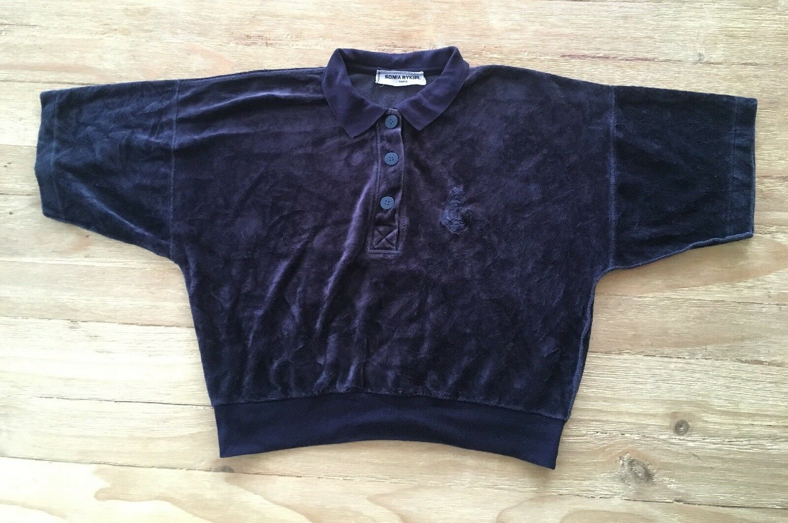 "Vintage Sonia Rykiel Paris Dark Blau Velour Polo Top Short Sleeve Chest 42"""