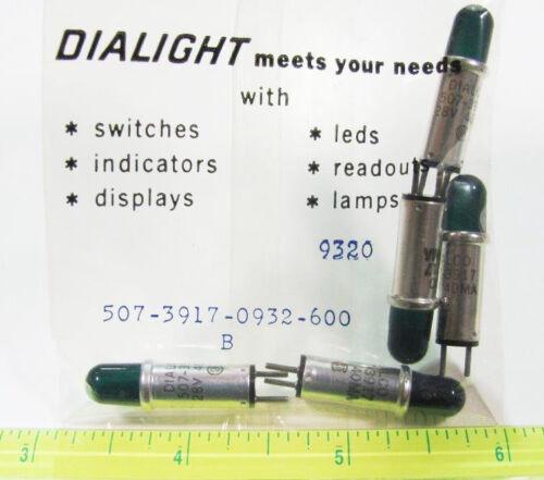 28V 40mA 5 Pcs Dialight 507-3917-0932-600 Stovepipe Green Datalamp Cartridge