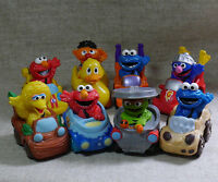 Sesame Street Elmo Cookies Grover Big Bird Cat Racing Set Of 8 Figure Toy