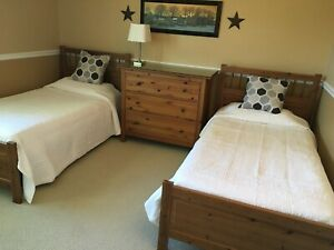 Ikea Twin Bed Set 2 Beds With Mattresses Dresser And Side Table Ebay