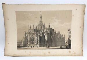 Milan-Cathedral-Church-1843-G-Moore-Lithograph-Architecture-of-Italy