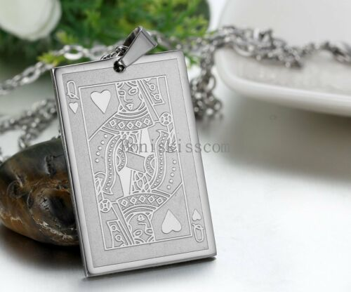 Mens Silver Stainless Steel Poker Playing Card Dog Tag Pendant Necklace Chain