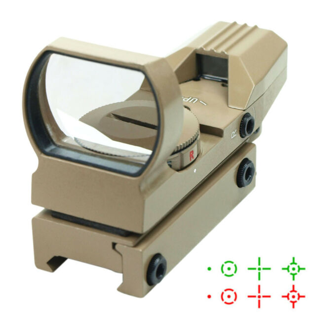 Tactical Holographic Reflex Red Green Adjustable Dot Sight with Rail Mount - Tan