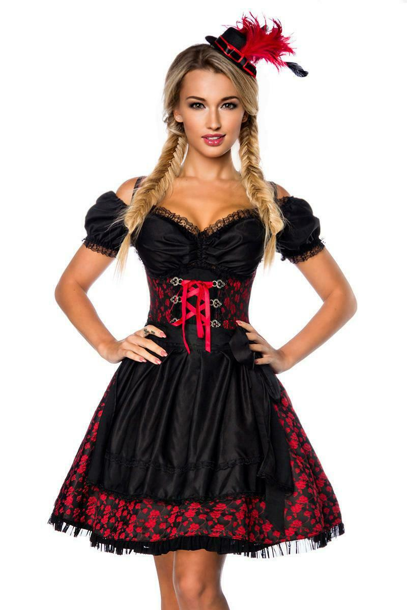 Premium Dirndl With Blouse Apron Dirndline Jacquard Fabric Black Red Size 3XL