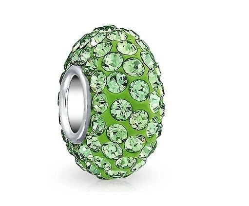 .925 Sterling Silver Green Crystal Bead Charm Simulated Peridot August