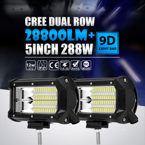 """2x 5/""""Inch 288W CREE Led Work Light Bar FLOOD Offroad For 4WD Jeep Polaris RZR"""