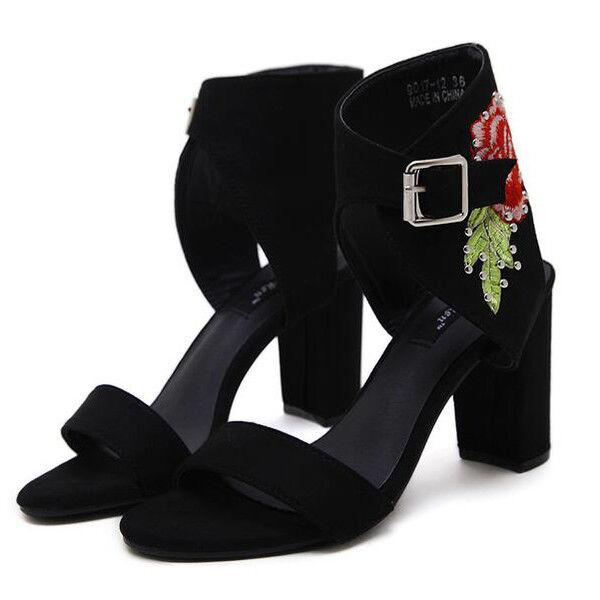 Sandals elegant heel square 9.5 cm black designs like leather elegant 9681