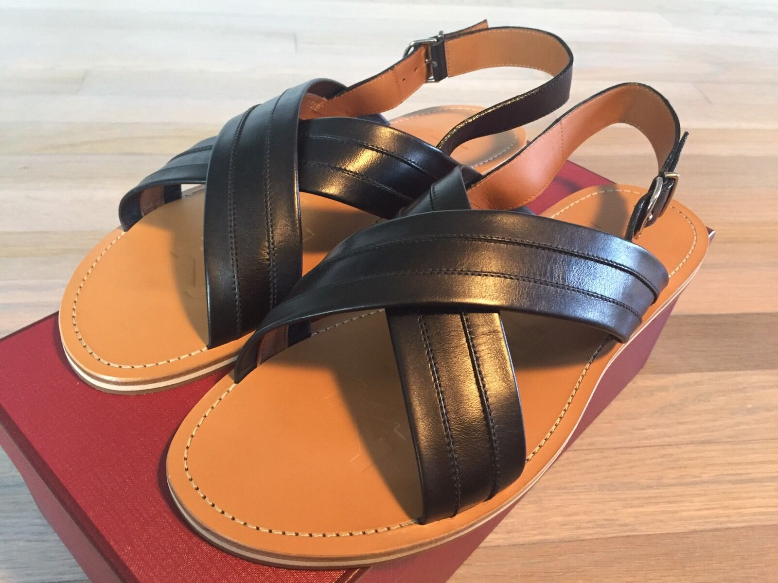 525  Bally Black and Tan Amadis Leather Sandals size US 11 Made in