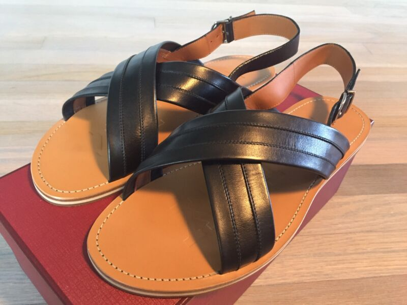 525$ Bally Black And Tan Amadis Leather Sandals Size Us 13 Made In Italy