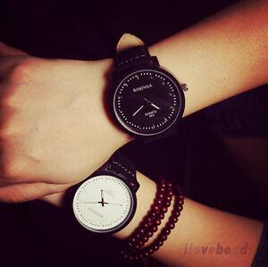 Unisex-Damen-Herren-Uhr-Armbanduhr-Watch-Faux-Leder-Analog-Quartzuhr-Wristwatch