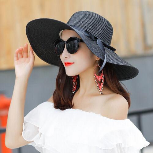 Women Large Wide Brim Straw Hats Beach Sun Visor UV Protection Floppy Derby Caps