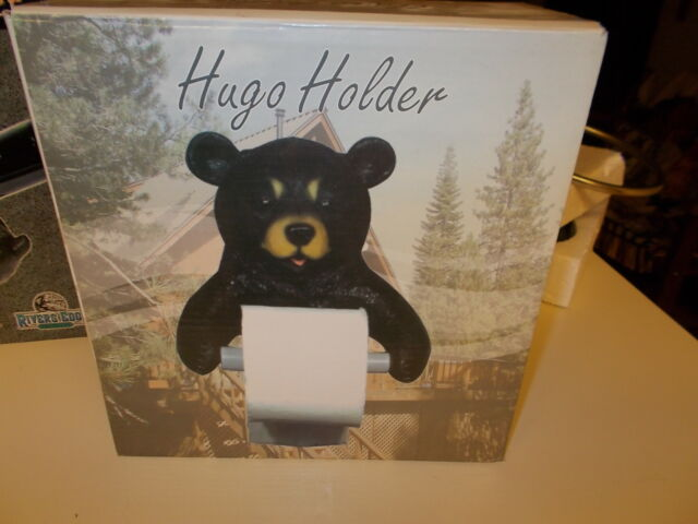 Vanity Bathroom Hugo Black Bear Toilet Paper Holder Figurine Statue