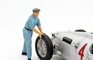 Auto Union Mechanic Figurine Pushes The Race Car 1:18 Figutec