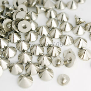 Screw-Back-Spikes-Silver-6mm-Polished-Metal-Stainless-Steel-Cone-Studs-Rivet