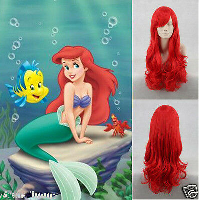 NEW Little Mermaid Princess Ariel Red Long Curly Synthetic Cosplay Wig M01