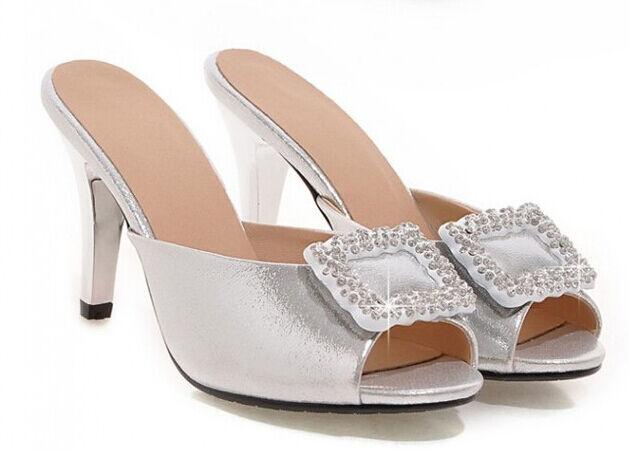 Zapatos zapatillas zuecos sandalias talón perno 8.5 8.5 8.5 cm plata tacón de aguja 9288  Tienda 2018