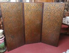 Antique Embossed Spanish Leather Tri-Fold Screen 3 Panel Room Divider Headboard