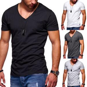 Behype-Herren-V-Neck-T-Shirt-Kurzarm-Slim-Fit-Poloshirt-Weiss-Schwarz-Grau-NEU