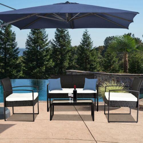 4PC Rattan Furniture Set Patio Outdoor Table Sofa Chair Loveseat Kit w// Cushion