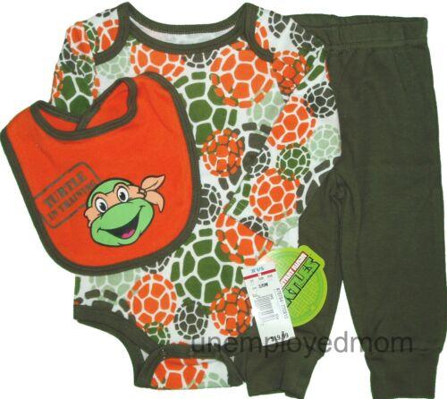 Boys Ninja Turtles TMNT 3 pc Lot Bodysuit Baby Outfit Top Teenage Mutant