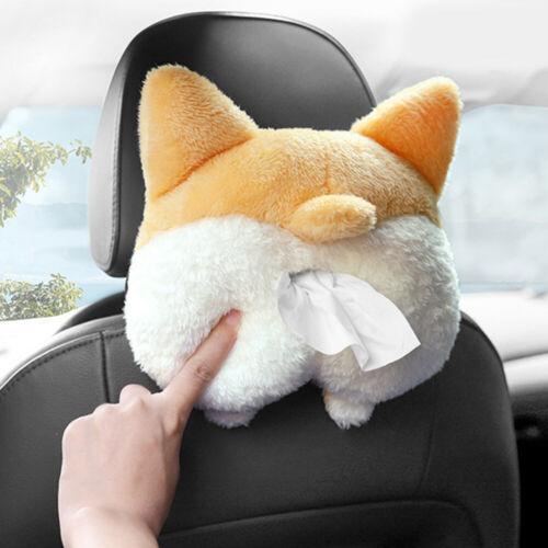 Corgi Butt Shaped Tissue Box Cover Plush Fun Adorable Paper Organizer for Car