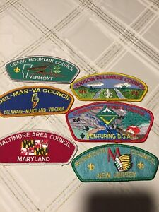 BOY-SCOUTS-OF-AMERICA-BSA-COUNCIL-PATCHES-SHOULDER-LOT-OF-6-DIFFERENT