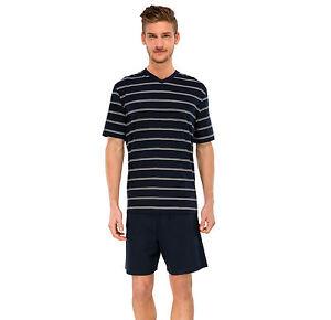 schiesser herren schlafanzug pyjama kurz dunkelblau. Black Bedroom Furniture Sets. Home Design Ideas