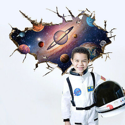 Astronaut On Moon Space 3D Window View Decal WALL STICKER Decor Art kids Room