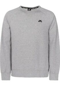 Details about Nike SB ICON CREW FLEECE Dark Heather Grey Black Pullover (D) Men's Sweatshirt
