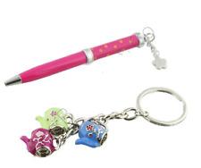 Key Ring & Pink Pen Gift Set - Teapot Design.
