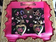 Betsey Johnson Betseyville Vintage Rose Floral Bronze Heart Locket Earrings RARE