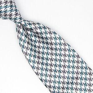 Josiah-France-Mens-Silk-Necktie-Green-Gray-White-Houndstooth-Check-Weave-Tie