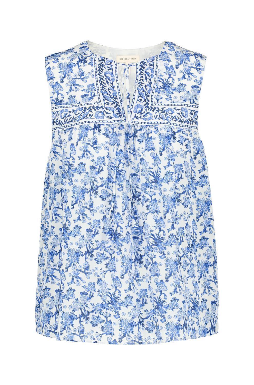 REBECCA TAYLOR Aimee Floral Silk Top, Größe 6