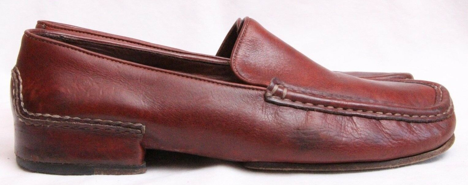 Cole Haan Country Red Leather Slip On Square Toe Loafers Women's U.S. 7.5B