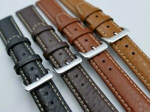NEW-20mm-18mm-Padded-Buffalo-Grain-Leather-Watch-Band-strap-Contrast-Stitching