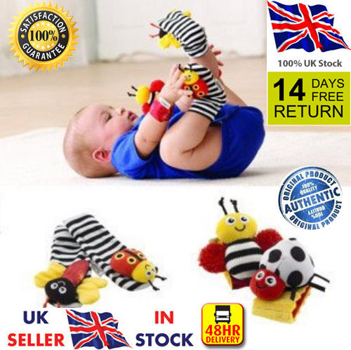 ☆NEW SALE Genuine 4pcs Lamaze Baby Infant Kids wrist Hands Foot socks rattle toy