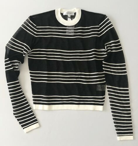Carven Deauville Knit Pullover Sweater Top Black XS M NWT $290