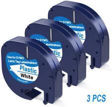 3pk Compatible Dymo Letratag Refill 91331 12mm Plastic Label Tape Lt 100h 12