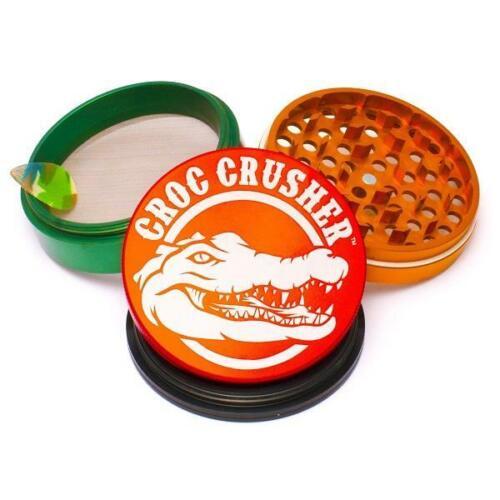 "Croc Crusher RASTA 4 Piece Herb Tobacco Premium Grinder Jumbo 3.5/"" Aluminum"