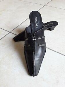 Mules vintage femme en 36 noir chaussures sabots cuir santiags neuf