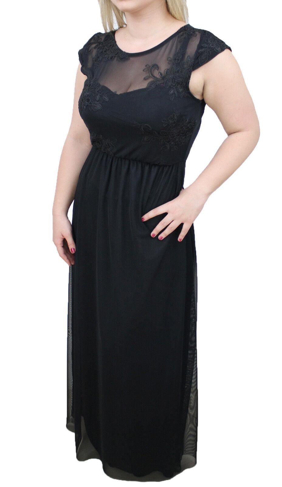 3223 - Kleid Frau schwarz elegante Zeremonie Braut lang aus Spitze